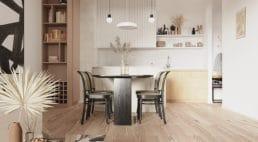 biało beżowe mieszkanie zczarnym stołem ikrzesłami zżółtym oparciem