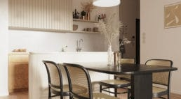 kuchnia wnowoczesnym mieszkaniu zjadalnią