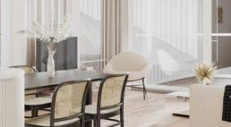 połacie szklanych okien zfuturystycznym fotelem wrogu mieszkania