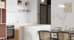 widok na kuchnie wraz zaneksem kuchennym wjasnym mieszkaniu