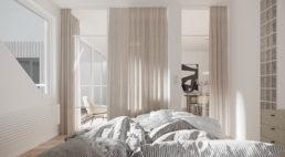 białe nowoczesne meble sypialni zmałymi chromowanymi gałeczkami