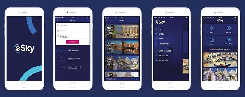 prezentacja na telefonie aplikacji eSky