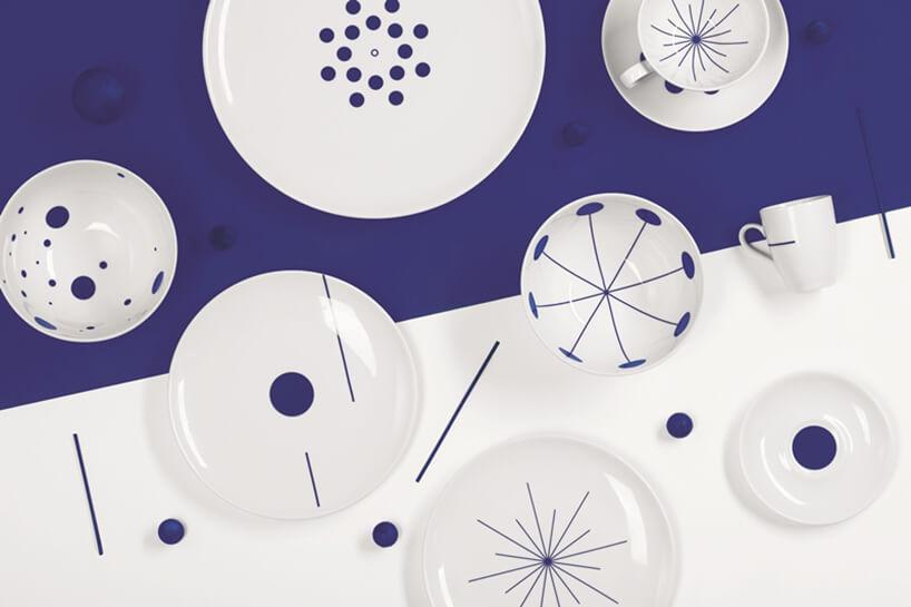 biało fioletowe porcelanowe naczynia PO PROSTU od Wzorowe Towarszystwo