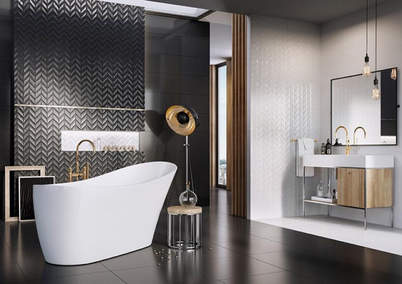 czarna ibiała glazura Roteo od Ceramstic czarno białej łazience
