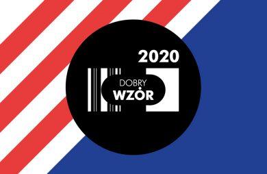 biały logotyp DOBRY WZÓR 2020 w czarnym kole na kolorowym tle