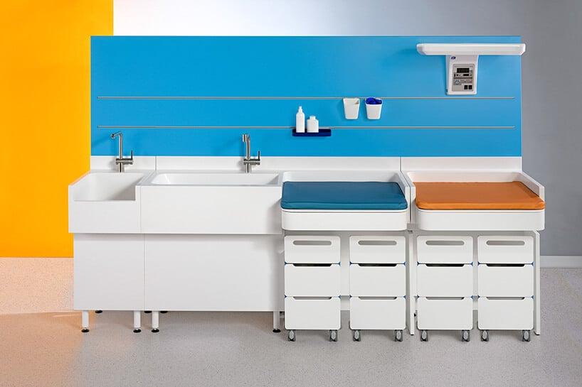białe szafki zkranem oraz niebieskim ipomarańczowym miejscem do przewijania dziecka