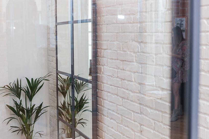 roślina przy szklanych drzwiach ibiałej ścianie