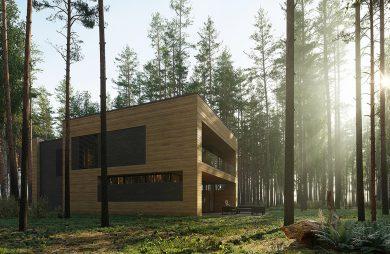 """nowoczesny projekt domu """"Dom pień"""" z drewnianą elewacją od 81.waw.pl"""