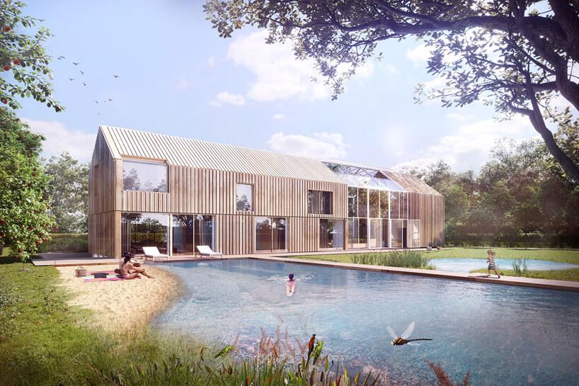 projekt domu wkształcie stodoły ze zbiornikiem