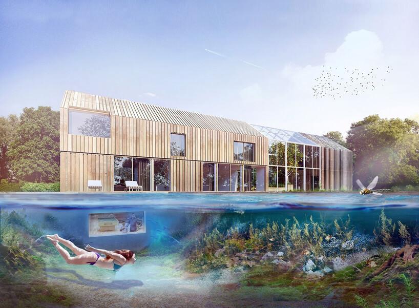 projekt domu wkształcie stodoły zwidokiem pod taflą wody