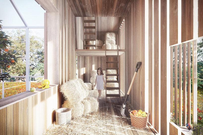 wizualizacja przestrzeni stodoły domu symbiotycznego od bxbstudio