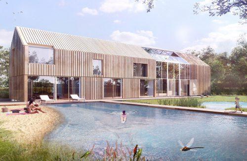 projekt domu symbiotycznego od bxbstudio w kształcie stodoły ze zbiornikiem