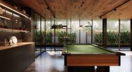 nowoczesne wnętrze domu do relaksu zciepłymi brązami izielonymi akcentami