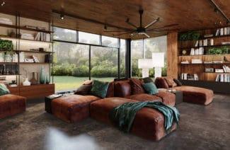 duża brązowa skórzana kanapa z zielonym kocem na kanapie oraz zielone poduszki