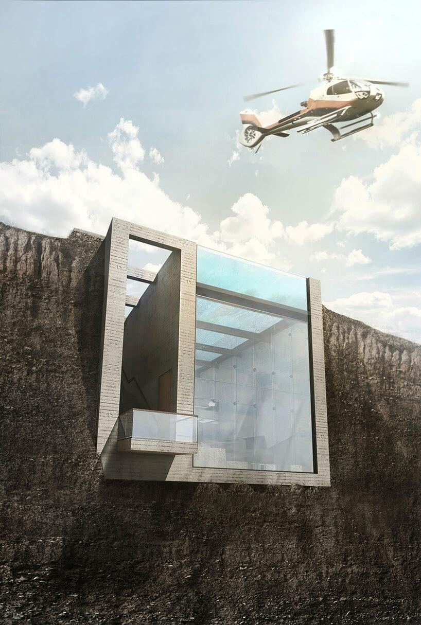 helikopter przelatujący nad domem wskarpie