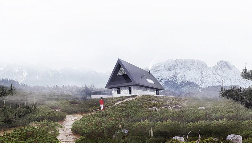 wizualizacja domu zszarym dachem na tle gór