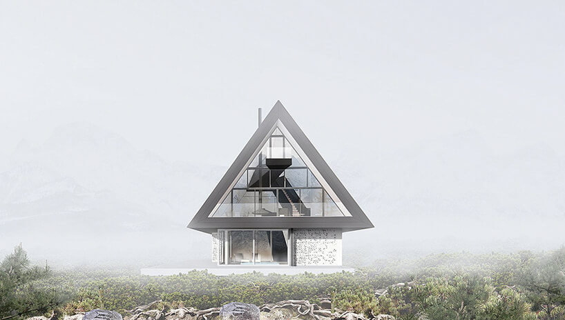 szczyt projektu domu zwidokiem na Giewont od BXBstudio