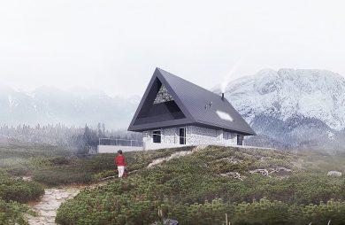 wizualizacja domu z szarym dachem na tle gór