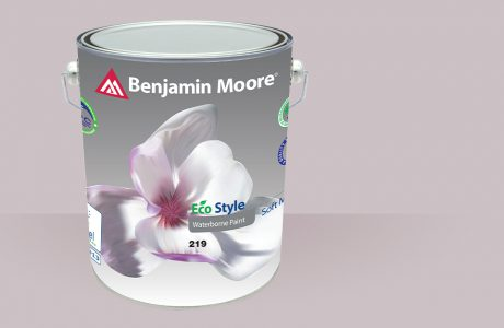 szara puszka farby Benjamin Moore z nadrukiem kwiatu