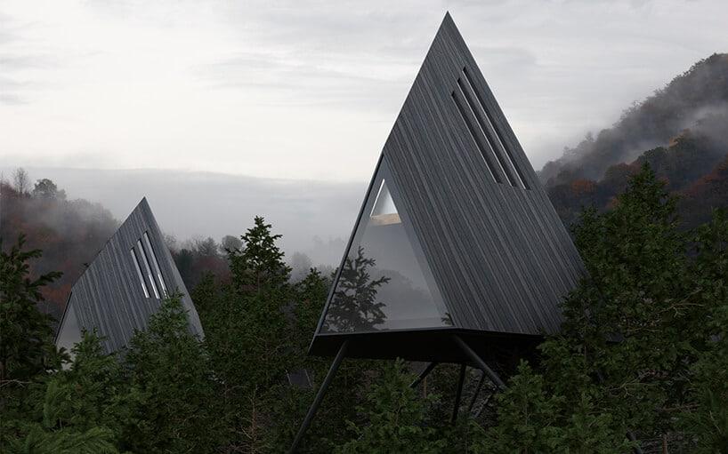 trójkątne zszarych desek domki wśrodku lasu