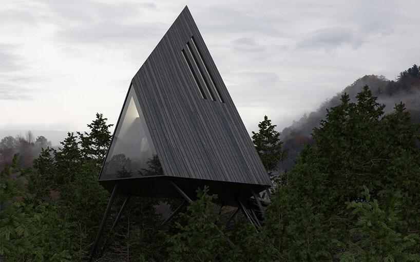 trójkątny dom ze spadzistym dachem pokrytym deskami wkolorze popielatym
