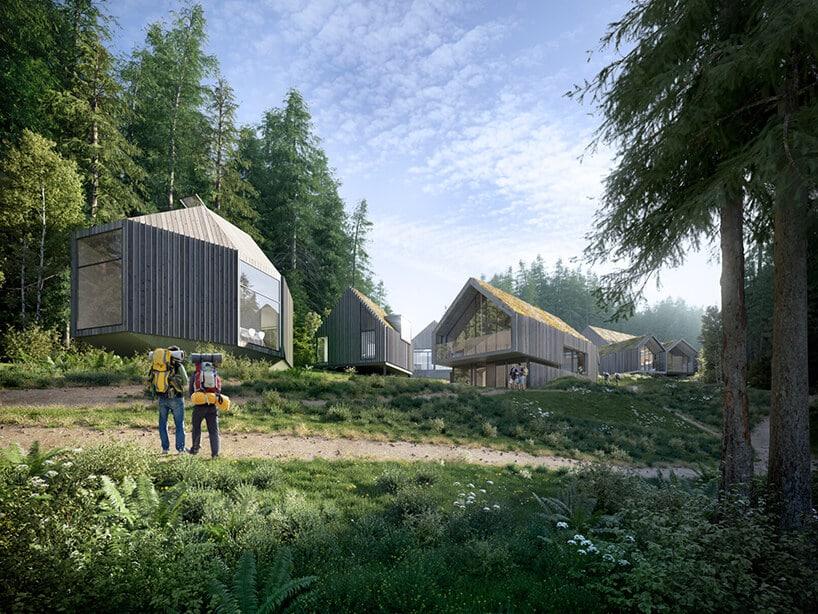 łąka wśrodku lasu zludźmi obok osiedla domków