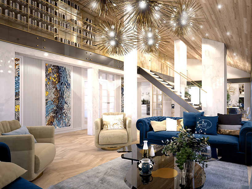 wizualizacja salonu wstylu glamour zdomową biblioteką ze złotymi półkami