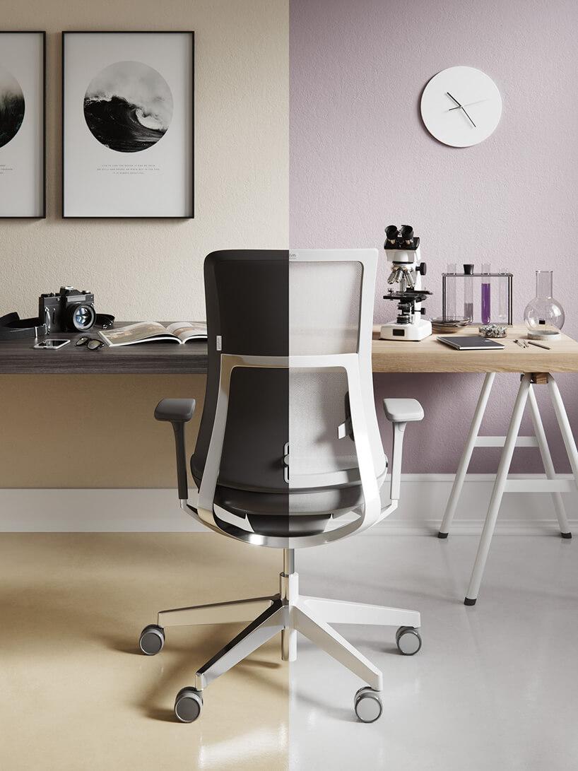 krzesło Violle od Profim wzestawieniu czarnej ibiałej wersji waranżacji zjasnym iciemnym biurkiem