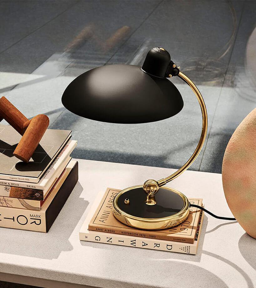 czarno-złota elegancka lampa Kaiser Idell