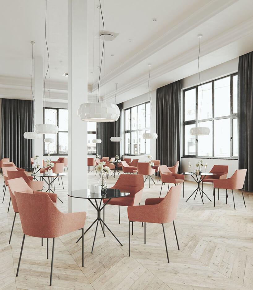 łososwe fotele przy stolikach wrestauracji