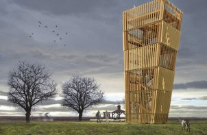 drewniana wieża obserwacyjno-widokowa