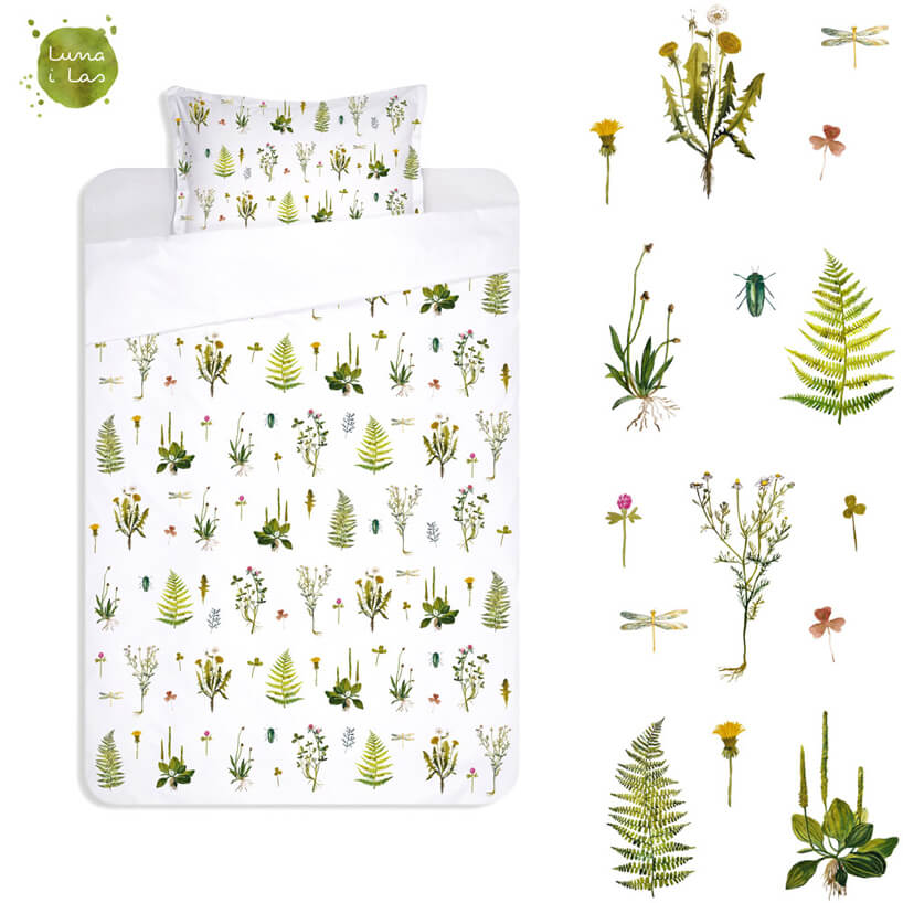 biała pościel zmotywem roślin lesnych