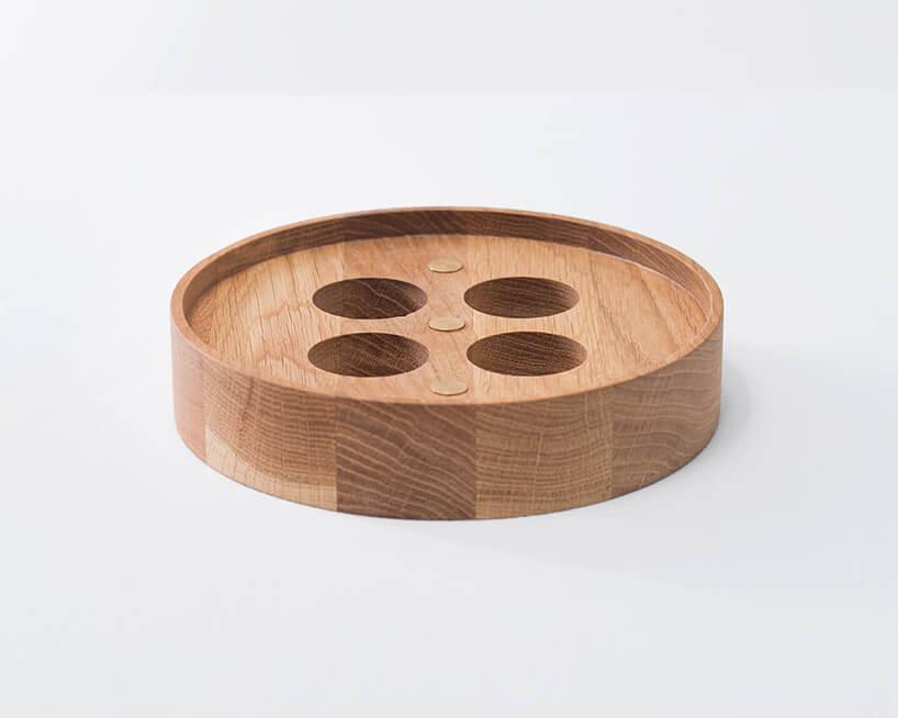 drewniany okrągły świecznik