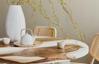 blat z żywicy jasny stół MALITA Just Wood