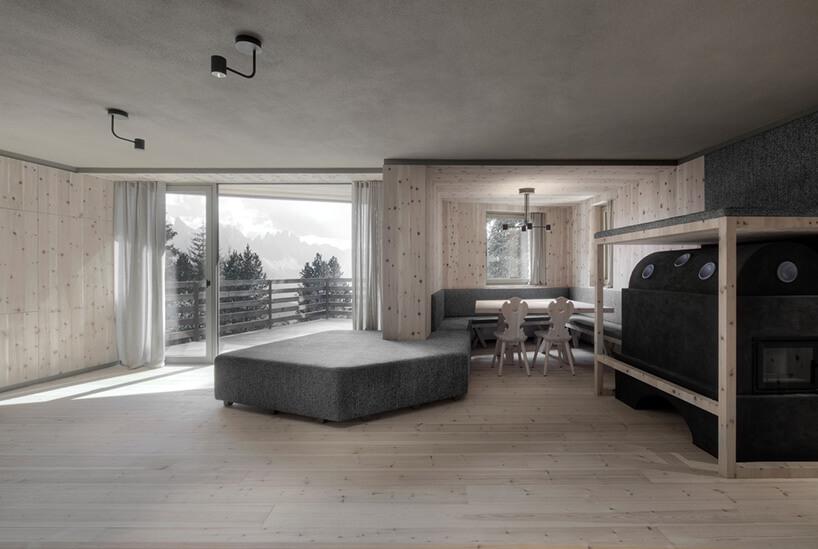 drewniany pokój gościnny ztarasem