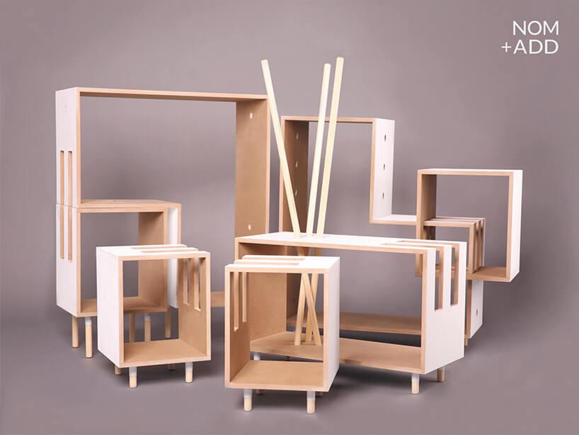 kilka drewnianych regąłów modułowych