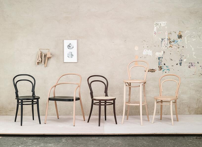 pięć rożnych krzeseł zgiętego drewna od TON