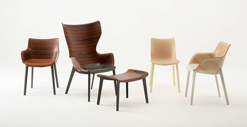 cztery krzesła Wood od Kartela zgiętej sklejki