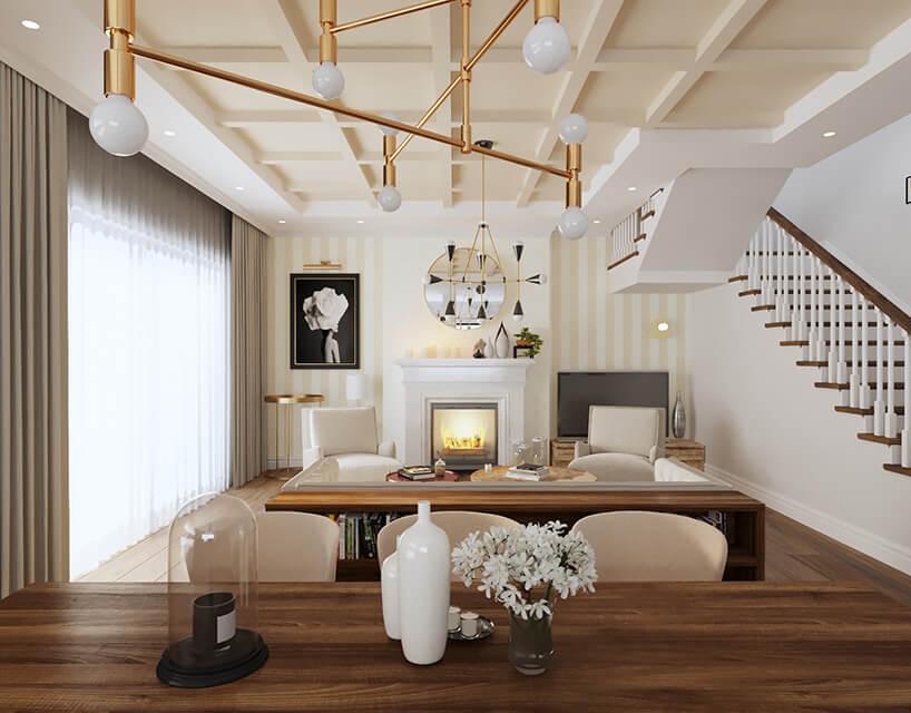 białe wnętrze zciemnymi drewnianymi podłogami idługimi zasłonami
