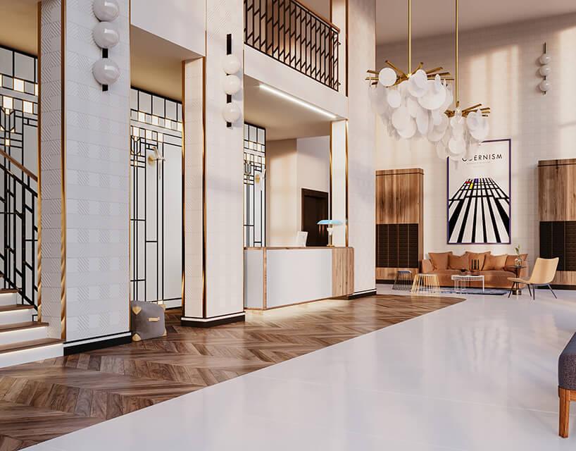 modernistyczne wnętrze budynku