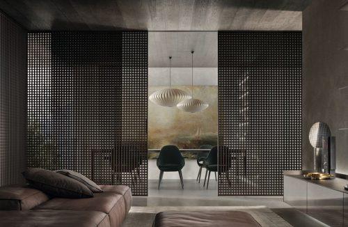 eleganckie nowoczesne ciemne wnętrze z drzwiami przesuwnymi w kratkę