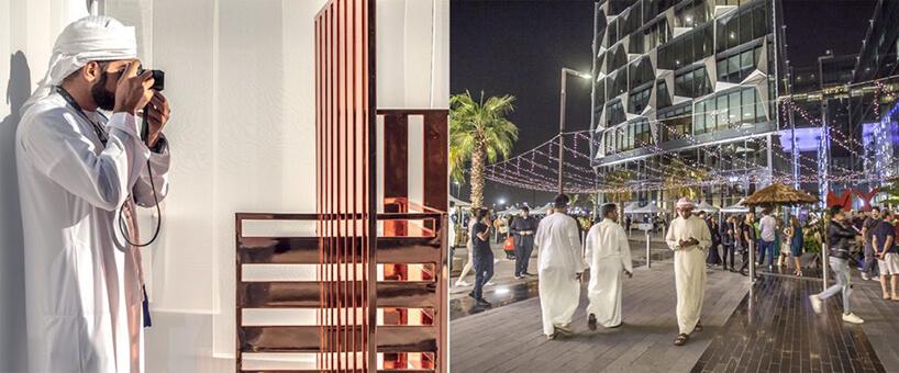 jedna zinstalacji na Dubai Design Week 2019 nocą