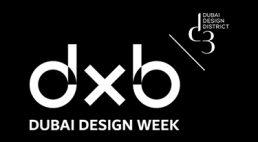 logo Dubai Design Week 2019 białe na czarnym tle