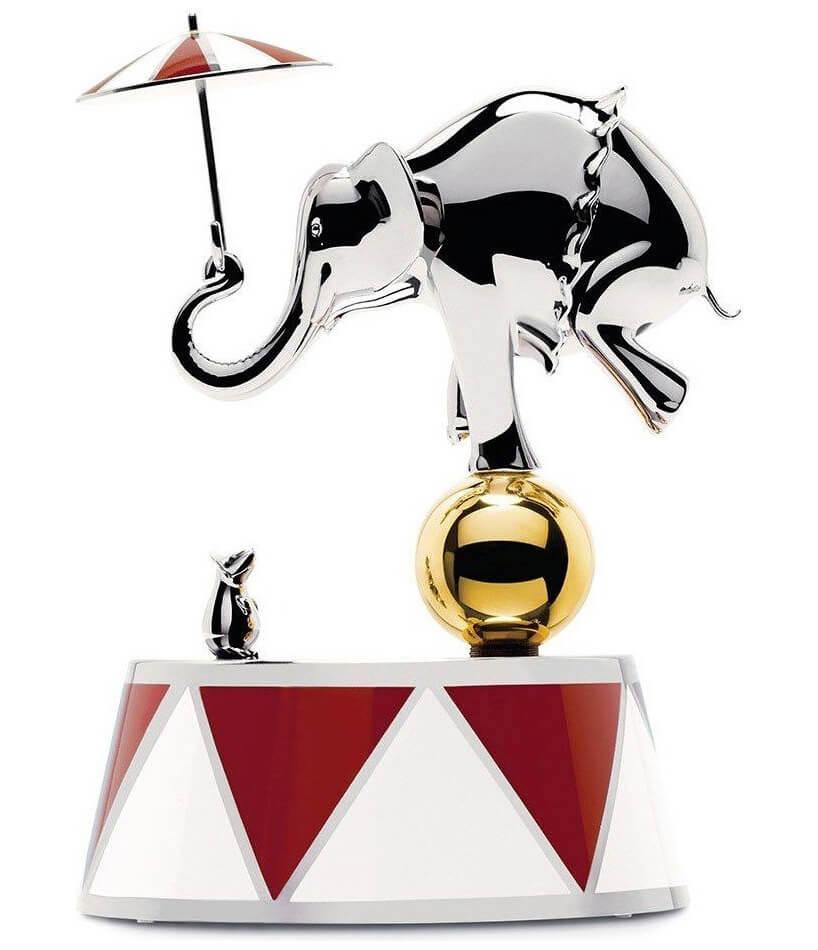 szkatułka zpozytywką Alessi Balerina ze srebrnym słoniem cyrkowym zparasolką