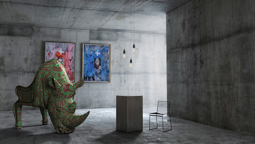 betonowe wnętrze znosorożcem