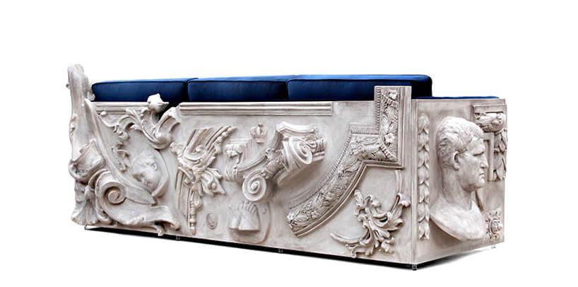wyjątkowa sofa The Boca Do Lobo Versailles sofa zniebieskim siedziskiem