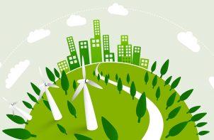 grafika zielonej kuli ziemskiej z wiatrakami