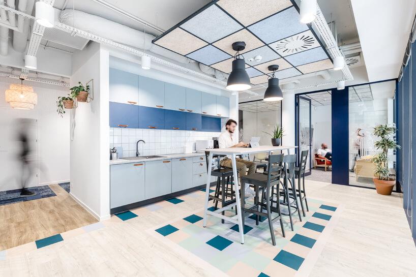 ekologiczne biuro od workplace solutions wusoki stół zkrzesłami wprzestrzeni kuchennej na tle niebieskich przeszklonych biur
