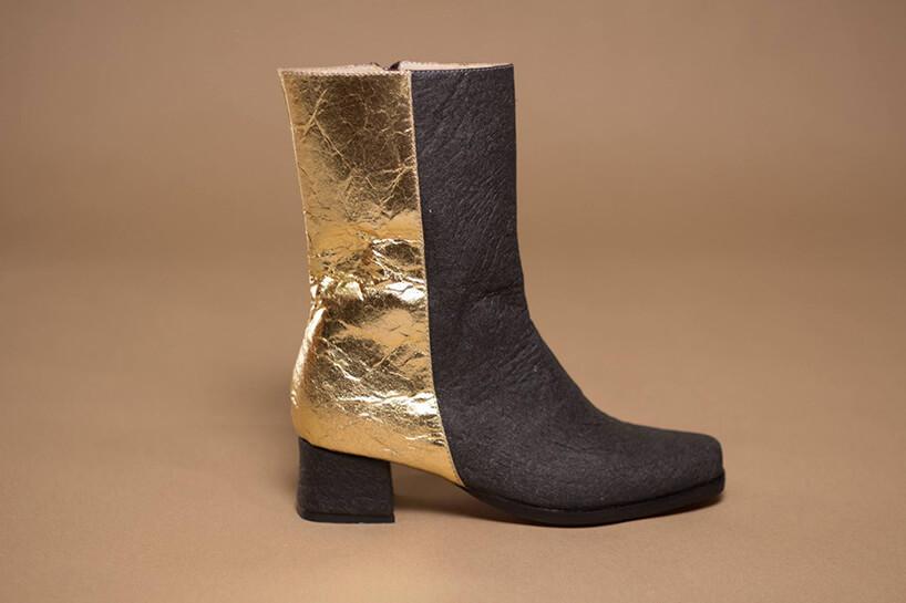 złoto-czarny wysoki but damski