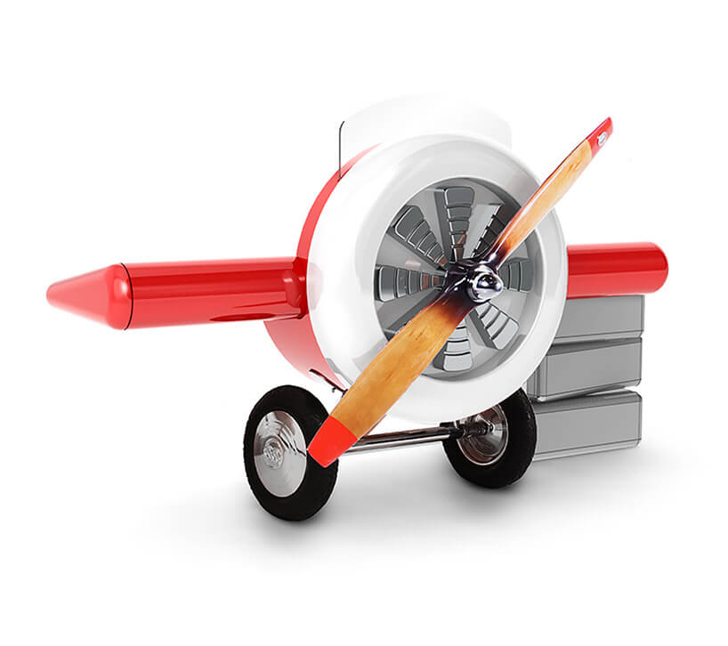 mebel dla dziecka wkształcie przodu starego samolotu